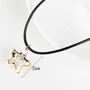 PU Leather Rope Rhinestone Star Necklace - GOLDEN