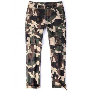 Drawstring Cuff Zipper Fly Multi Pocket Camo Pants -