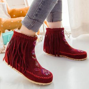 Braid Embroidered Fringe Boots -