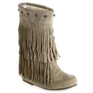 Mid Calf Rivet Suede Fringe Boots - Light Khaki - 38