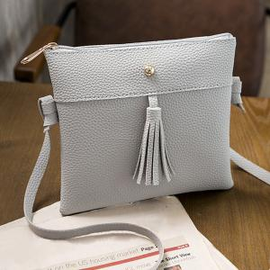 Tassel Textured PU Leather Cross Body Bag - Gray