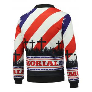 Stand Collar 3D Soldier and Flag Print Zip Up Padded Jacket - COLORMIX 5XL