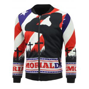 3D Soldier and Flag Print Patriotic Padded Jacket