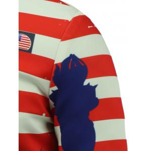 Stand Collar 3D Statue of Liberty and Striped Print Zip Up Padded Jacket -
