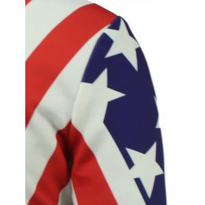 American Flag Print Zip Up Padded Jacket - COLORMIX 5XL