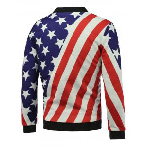 Stand Collar 3D Stars and Stripes Print Zip Up Padded Jacket - COLORMIX 5XL