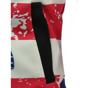 Abstract Distressed American Flag Print Padded Jacket - COLORMIX 5XL