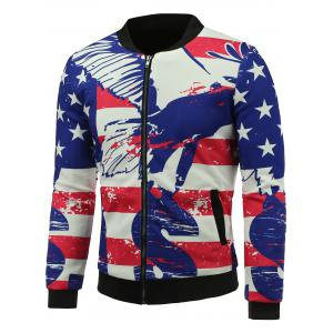 Abstract Distressed American Flag Print Padded Jacket - Colormix - Xl