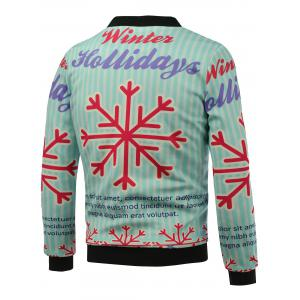 Stand Collar 3D Christmas Snowflake Print Zip Up Padded Jacket - BLUE 5XL