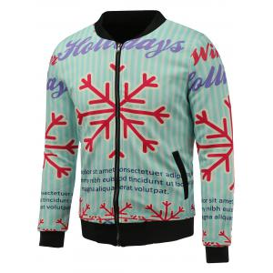 Stand Collar 3D Christmas Snowflake Print Zip Up Padded Jacket