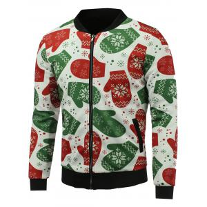 Stand Collar 3D Christmas Gloves Print Zip Up Padded Jacket