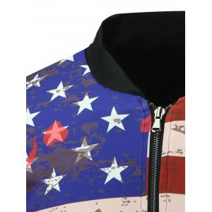 Stand Collar 3D Splatter Paint Stars and Stripes Print Zip Up Padded Jacket - COLORMIX 5XL