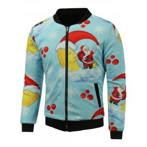 Stand Collar 3D Father Christmas Print Zip Up Padded Jacket