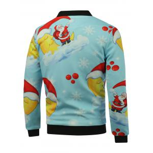 Stand Collar 3D Father Christmas Print Zip Up Padded Jacket - SKY BLUE 5XL