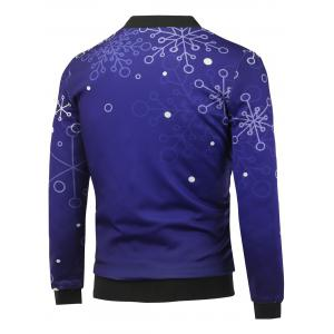 Stand Collar 3D Christmas Snowflake Printed Zip Up Padded Jacket - DEEP PURPLE 5XL