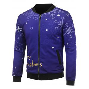 Stand Collar 3D Christmas Snowflake Printed Zip Up Padded Jacket