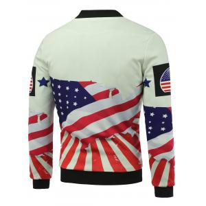Stand Collar 3D USA Stars and Stripes Print Zip Up Padded Jacket - COLORMIX 5XL