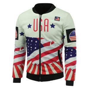 USA Stars and Stripes Patriotic Print Padded Jacket