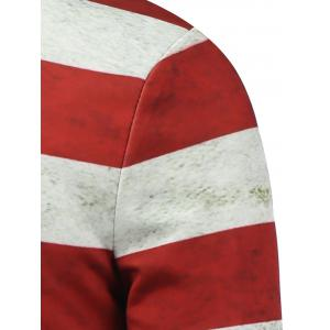 Distressed American Flag Print Zip Up Padded Jacket -