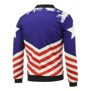 Stand Collar 3D Stars and Striped Print Zip Up Padded Jacket - COLORMIX 5XL