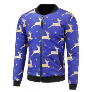 Stand Collar 3D Christmas Reindeer and Snowflake Print Padded Jacket