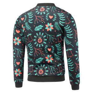 Stand Collar 3D Christmas Floral Print Padded Jacket - BLACK 5XL