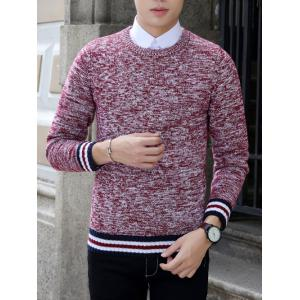 Knit Blends Stripe Splicing Long Sleeve Sweater