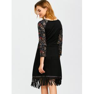 Vintage Printed Flapper Dress - BLACK L