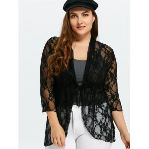 Plus Size Drawstring Asymmetric Lace Jacket - Black - 5xl