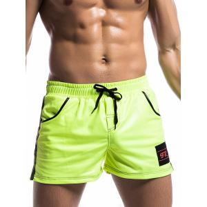 Trimmed Pocket Side Striped Drawstring Gym Shorts