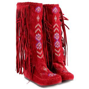 Embroidered Mid Calf Fringe Boots - RED 39