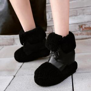 Faux Fur Panel Hidden Wedge Snow Boots - Black 39