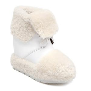 Faux Fur Panel Hidden Wedge Snow Boots -