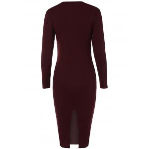 Back Slit Tight Fitted Long Sleeve Dress - WINE RED XL