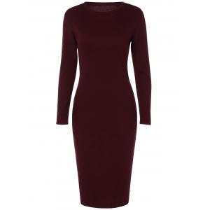 Back Slit Tight Fitted Long Sleeve Dress - Wine Red - S