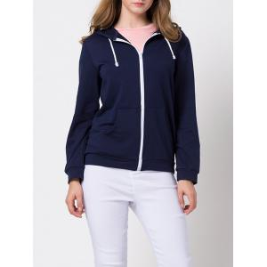 Zip-Up String Casual Hoodie