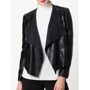 PU Snap Button Biker Jacket