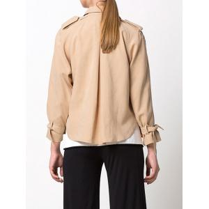 Double-Breasted Loose Duster Jacket - KHAKI L