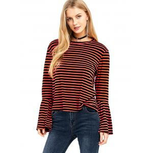 Crew Neck Stripe Bell Sleeve Tee - ORANGE XL