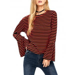 Crew Neck Stripe Bell Sleeve Tee