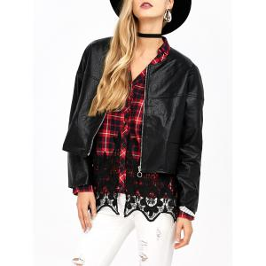 Insert Short Faux Leather Jacket