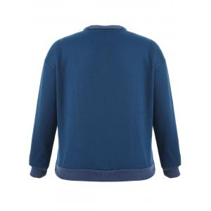 Cut Out Heart Pullover Sweatshirt - DEEP BLUE ONE SIZE