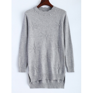 Beading High Low Hem Long Knitwear - Gray - One Size