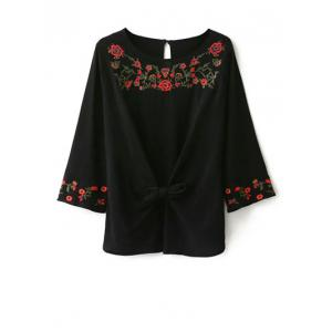Mexican Embroidered Front Knot Blouse - Black - S