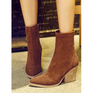 Zipper Chunky Heel Pointed Toe Short Boots -