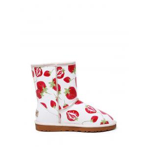 Stitching Strawberry Printed Colour Spliced Snow Boots -