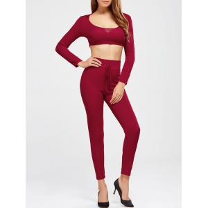Plain Hooded Crop Top and Ninth Pants - Burgundy - Xl