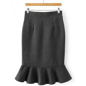 High Waisted Wool Blend Mermaid Skirt - GRAY ONE SIZE