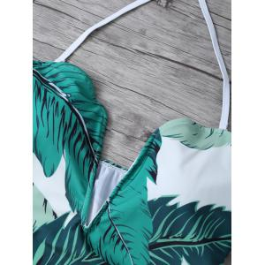 Printed Halter One Piece Swimsuit - WHITE/GREEN M