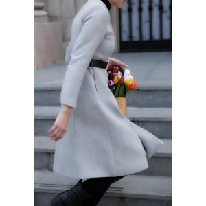 A Line Wool Blend Coat - GRAY L